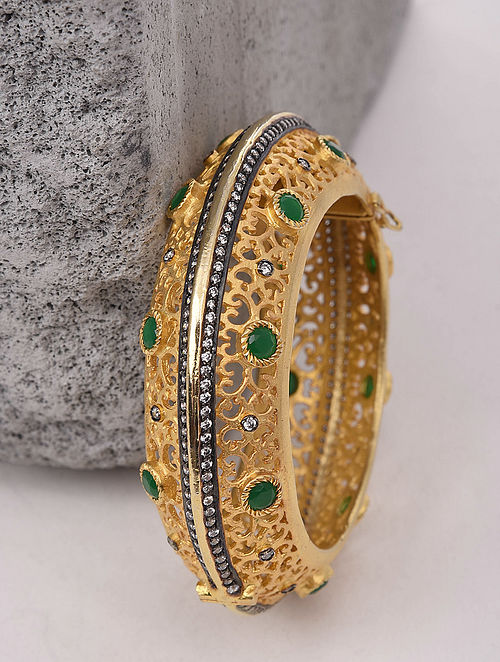 Green Gold Plated Handcrafted Bangle