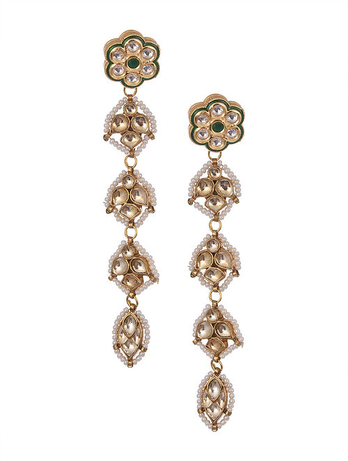 Gold Plated Kundan Beaded Earrings