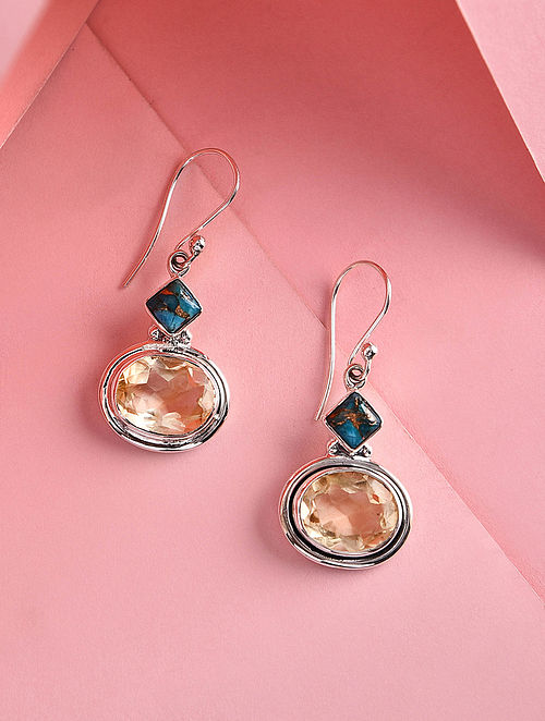 Citrine and Turquoise Silver Earrings