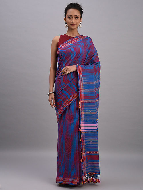 Blue-Red Bhujodi Cotton Tussar Silk Saree