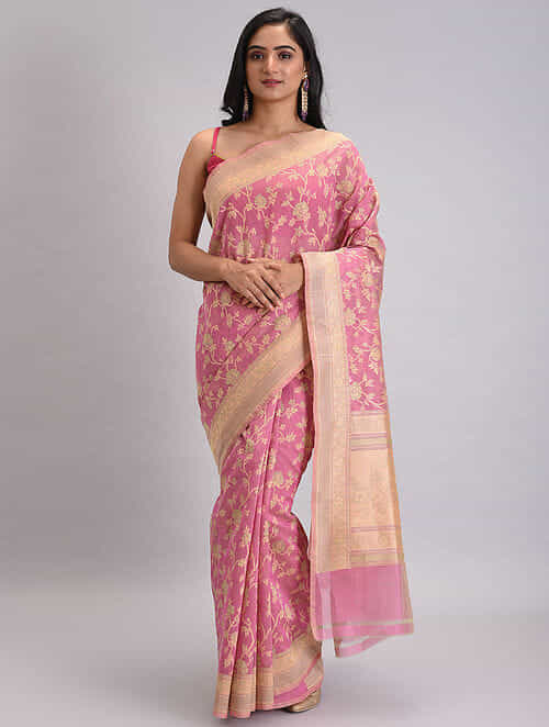 Pink-Beige Benarasi Handwoven Silk Cotton Saree