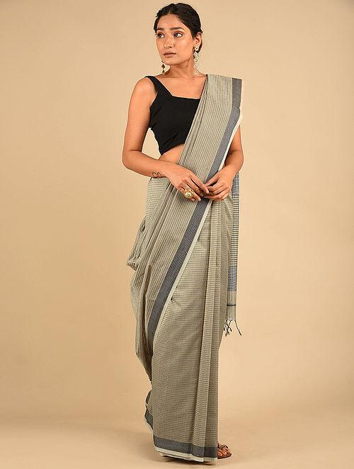 Grey Handwoven Maheshwari Silk Saree