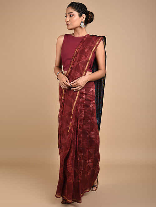Red-Blue Shibori Dyed Ajrakh Printed Chanderi Saree