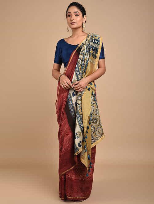Red-Yellow Shibori Dyed Ajrakh Printed Chanderi Saree