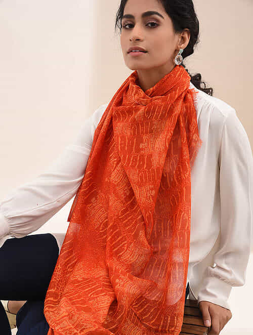 Rust Printed Cotton Scarf