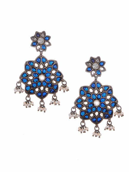 Blue Tribal Silver Earrings with Pearls