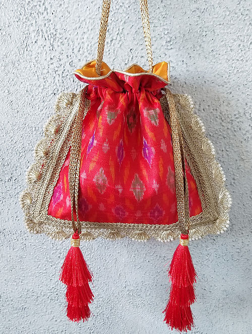 Red Handcrafted Ikat Raw Silk Potli