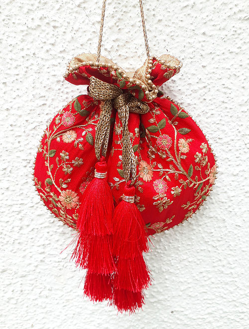 Red Embroidered Poly Silk Potli