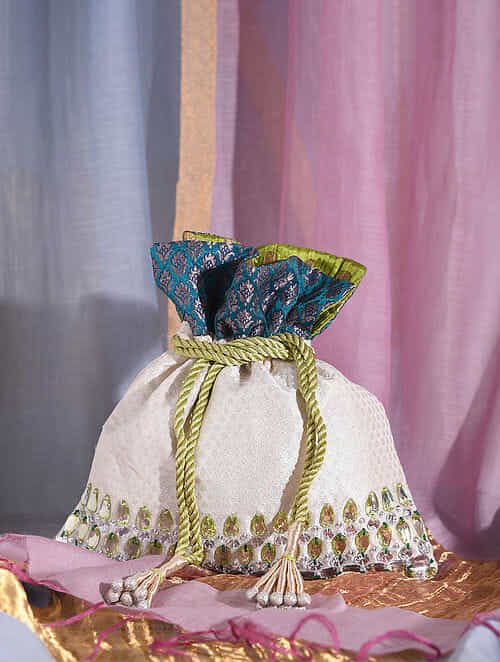 Cream Green Handcrafted Brocade Silk Potli