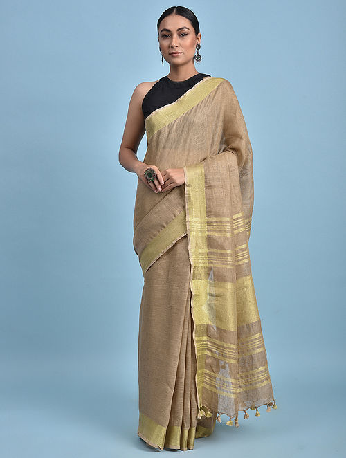 Brown Handwoven Linen Saree with Zari