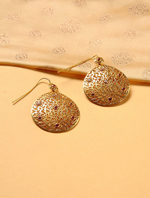 Gold Plated Silver Earrings with Rhodolite