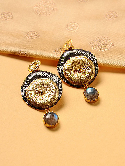 Gold Plated Silver Earrings with Labradorite