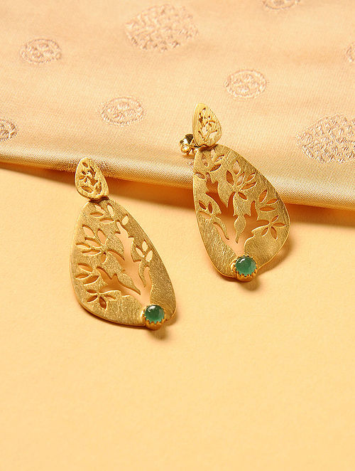 Gold Plated Silver Earrings with Emerald
