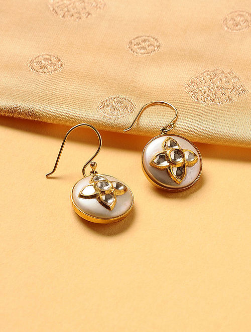 Gold Plated Kundan Silver Earrings with Pearls