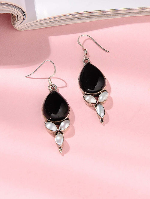 Black Onyx and Pearl Silver Earrings