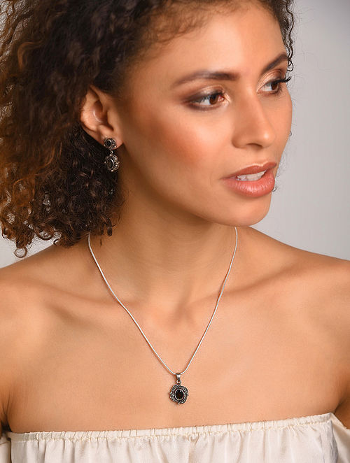 Smoky Quartz Silver Pendant with Chain and Earrings