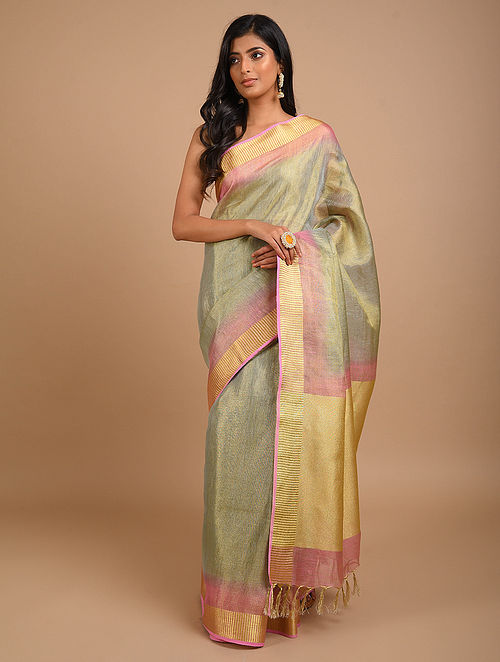 Grey-Pink Handwoven Tissue Linen Saree