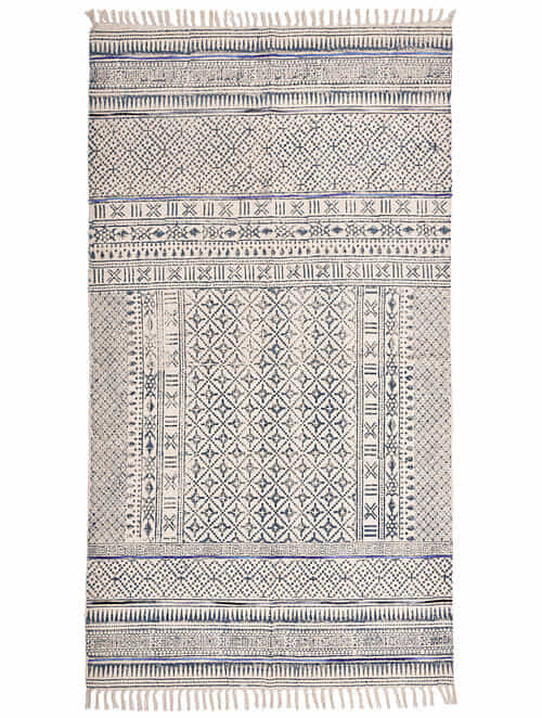 Cross Stripe Blue and White Block Printed Cotton Dhurrie with Recycled Silk Embroidery (60in x 36in)