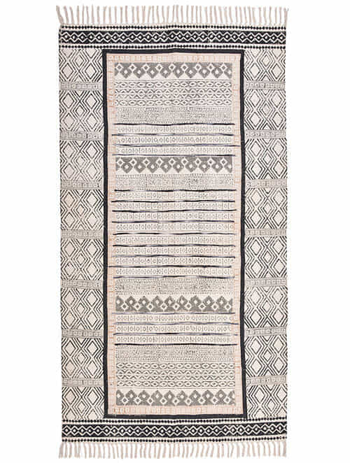 Kilah Black-Multicolor Block Printed Cotton Dhurrie with Recycled Silk Embroidery (60in x 36in)