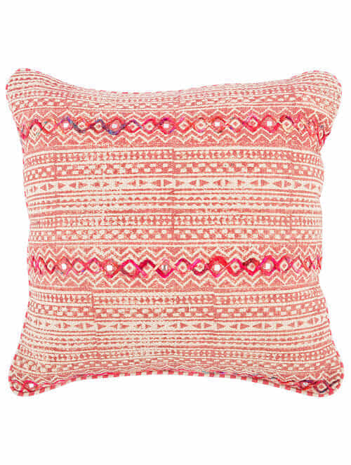 Patalah Pink and White Block Printed Cotton Cushion Cover with Striped Backing and Piping with Recycled Silk Embroidery (20in x 20in)