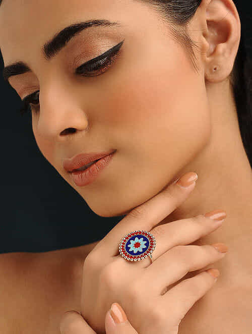 Multicolored Enameled Silver Adjustable Ring