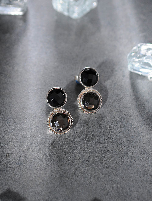 Smoky Quartz and Onyx Silver Earrings