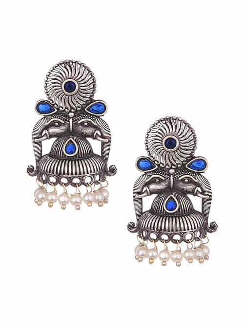 Blue Silver Tone Tribal Earrings With Pearls