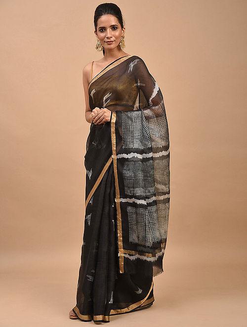 Black Shibori Dyed Kota Silk Saree