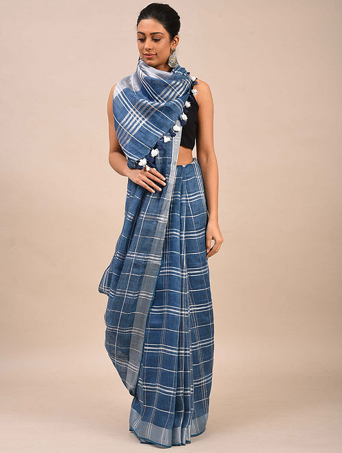 Blue Handwoven Linen Saree