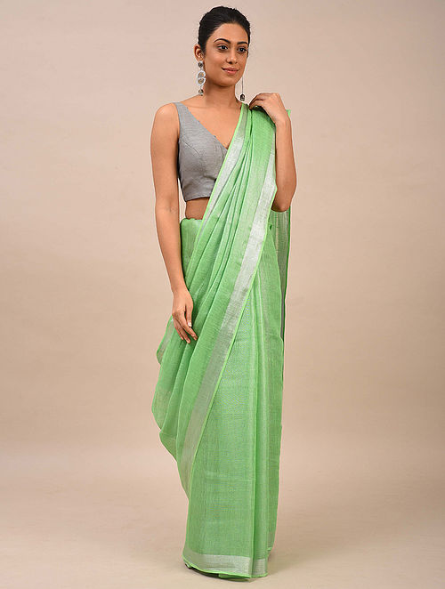Green Handwoven Linen Saree