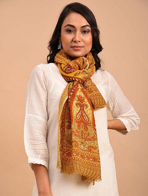 Mustard-Orange Printed Merino Wool Shawl