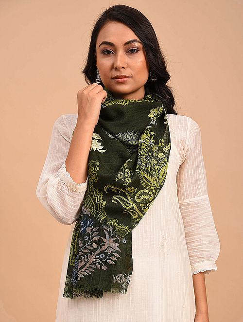 Black-Green Printed Merino Wool Shawl