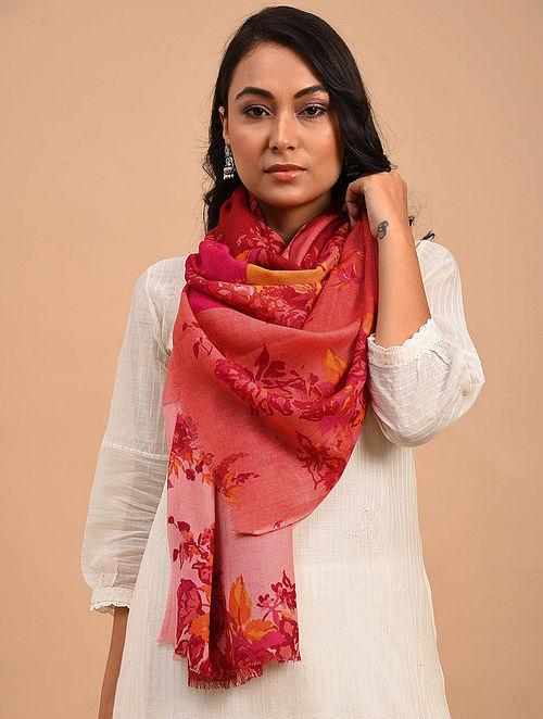 Red-Pink Printed Merino Wool Shawl