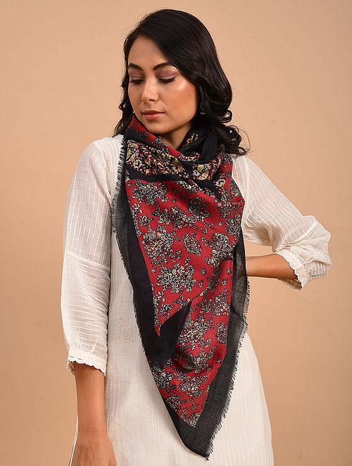 Red-Black Printed Silk Wool Scarf