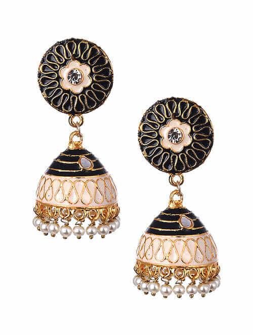 Black White Gold Tone Enameled Jhumki Earrings With Pearls