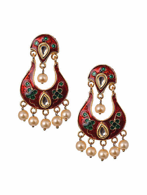 Red Green Gold Tone Enameled Earrings With Pearls