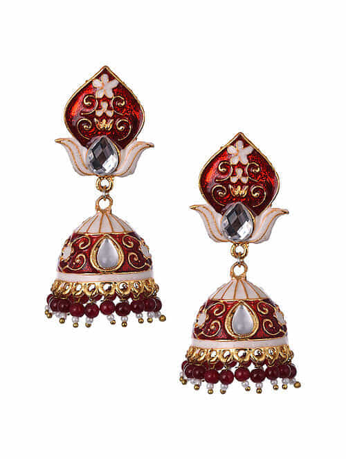 Red White Gold Tone Enameled Jhumki Earrings