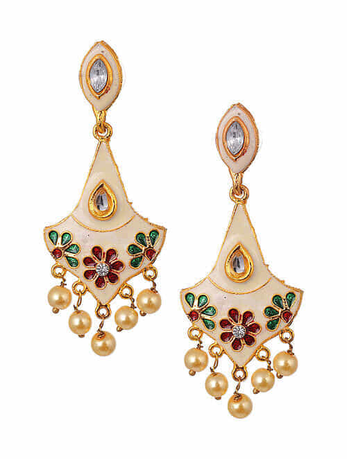 White Gold Tone Enameled Earrings With Pearls