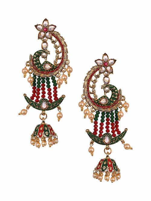 Red Green Gold Tone Enameled Beaded Earrings