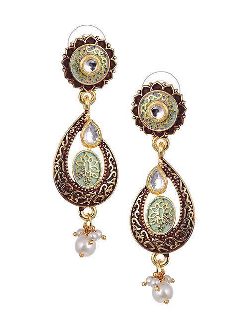 Maroon Green Gold Tone Kundan Enameled Earrings With Pearls