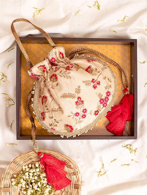 Cream Hand Embroidered Silk Potli