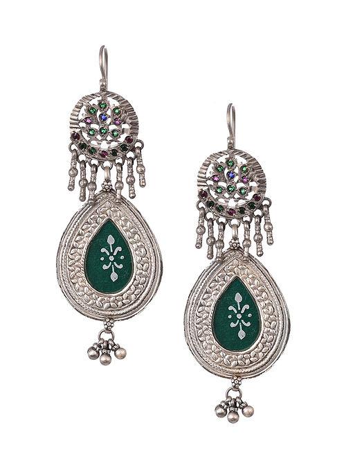Green Glass Vintage Silver Earrings