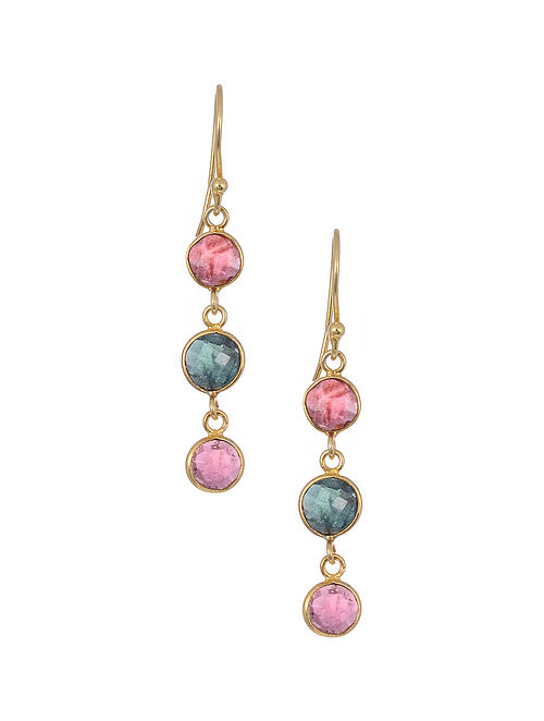 Classic Silver Earrings with Multi Tourmaline
