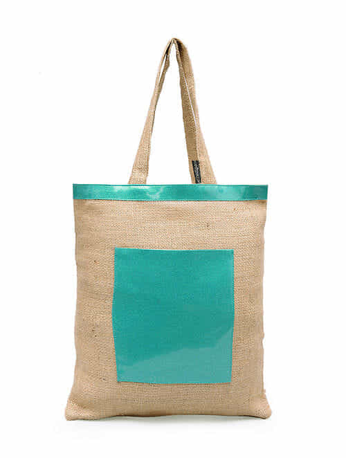 Turquoise Handcrafted Jute Tote Bag