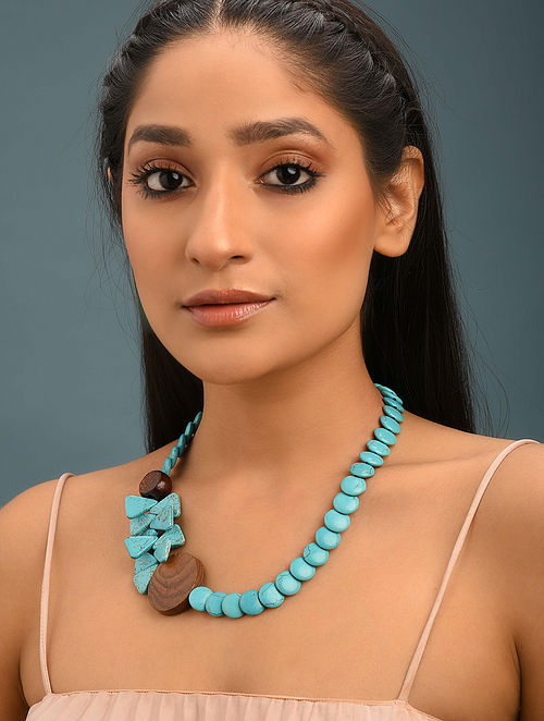 Turquoise And Wooden Beaded Necklace