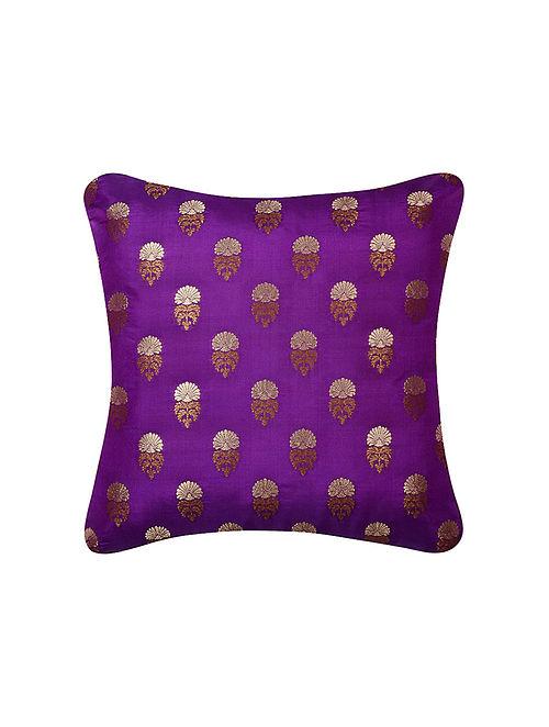 Royal Purple Two Tone Boota Brocade Silk Cushion Cover  (16in x 16in)