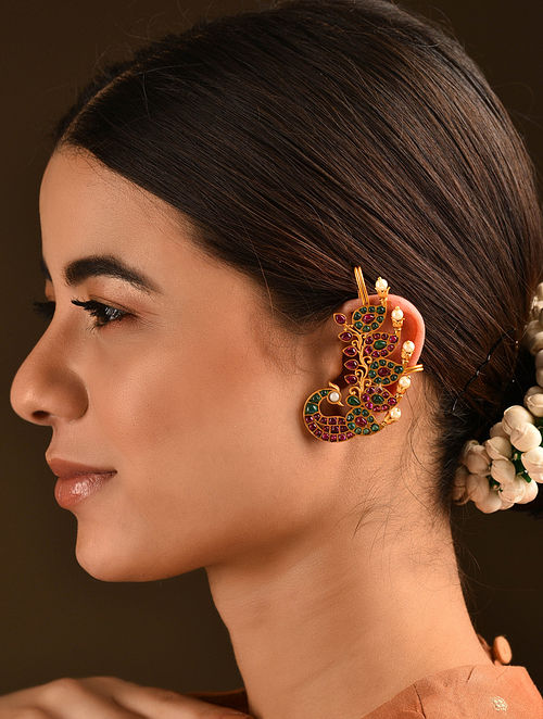 Pink Green Gold Plated Temple Work Ear Cuffs With Kemp And Pearls