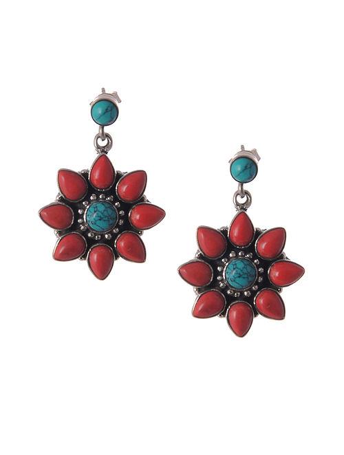 Maroon Blue Tribal Silver Earrings