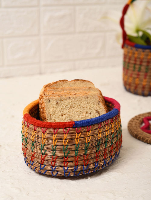 Multicolored Handcrafted Pine Needle Grass Bread Basket (L - 7in, W - 5in, H - 2.6in)