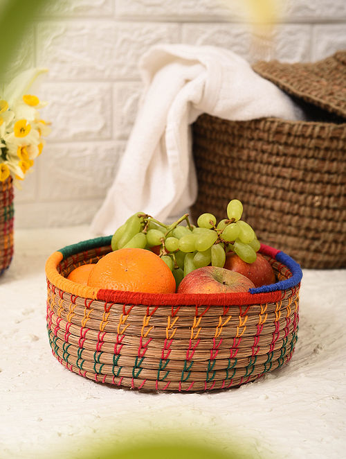 Multicolored Handcrafted Pine Needle Fruit Basket (L - 8in, W - 8in, H - 2.6in)